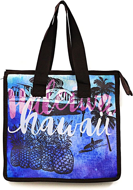 Hawaiian Print Thermal Insulated Zipper Lunch Bag Pineapple Surfer Palms In Blue Large