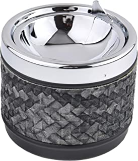 Quantum Abacus Round Windproof Ashtray Made of Metal and PU Leather, with lid, Colorful Rhombus Pattern, Colour: Black, Mo...