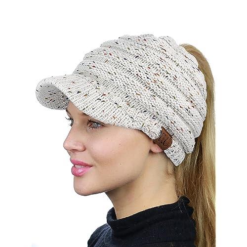 fa6bb98b176 C.C BeanieTail Warm Knit Messy High Bun Ponytail Visor Beanie Cap