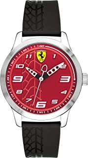 Ferrari Mens Quartz Watch, Analog Display and Rubber Strap