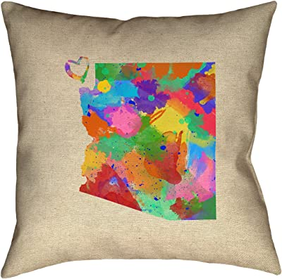 Double Sided Print with Concealed Zipper /& Insert ArtVerse Katelyn Smith Wyoming Watercolor 14 x 14 Pillow-Faux Linen Updated Fabric