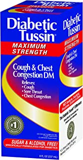 Diabetic Tussin DM Maximum Strength Cough amd Chest Congestion Relief Liquid Cough Syrup, Safe for Diabetics, Berry Flavored, 8 Fluid Ounce