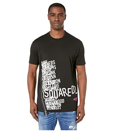 DSQUARED2 Cool Fit Asymmetric Zip T-Shirt (Black) Men