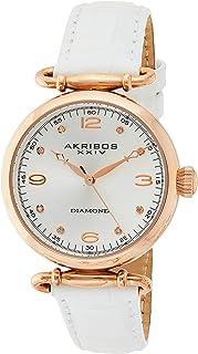 Akribos Xxiv Women's Silver Dial Leather Band Watch - Ak878Wtr, White Band, Analog Display
