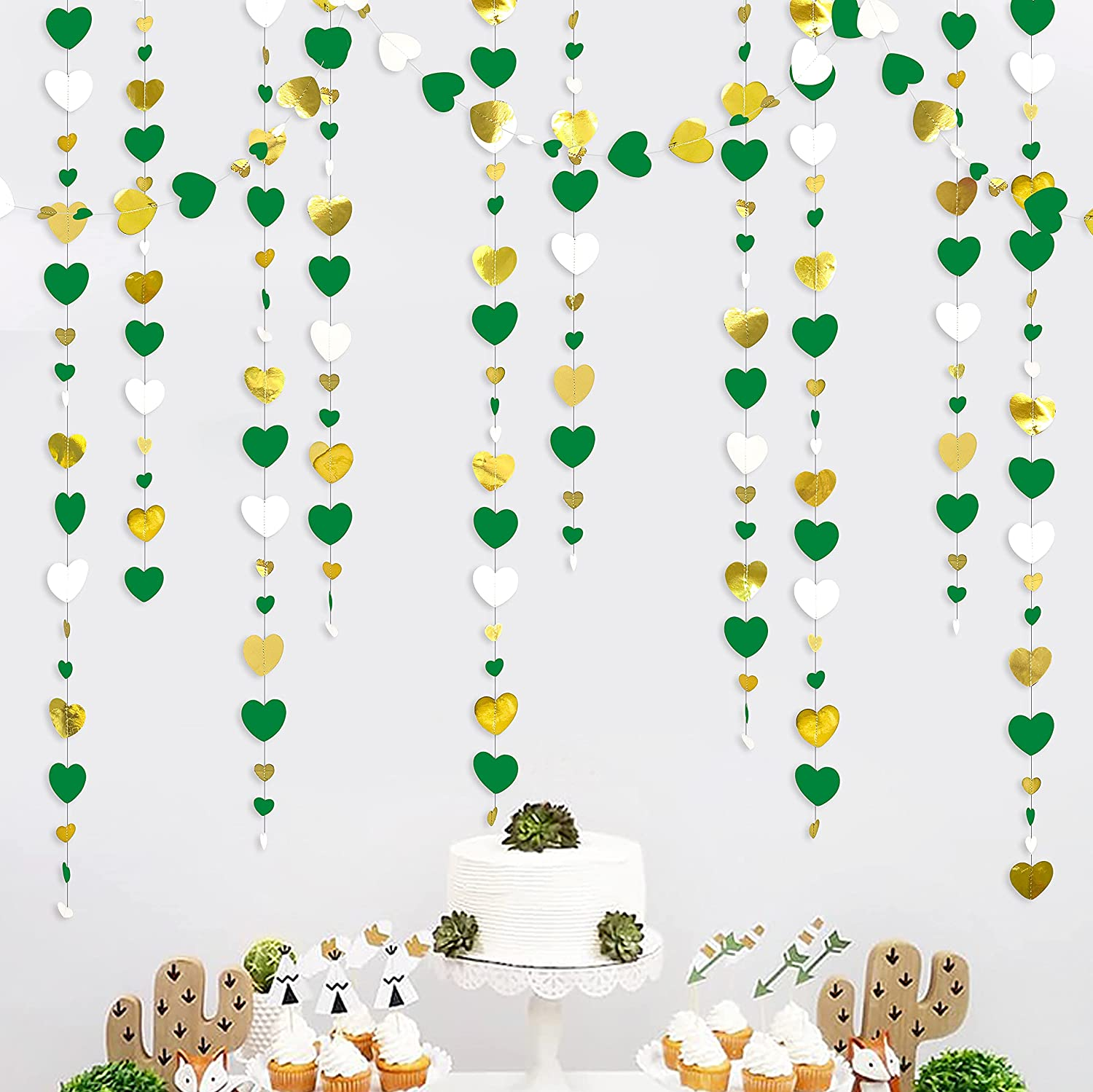52 Ft Green White and Gold Love Heart Garland Hanging Paper Streamer Banner for Anniversary Bachelorette Engagement Wedding Bridal Shower Birthday Mother's Day Valentines Party Decorations Supplies