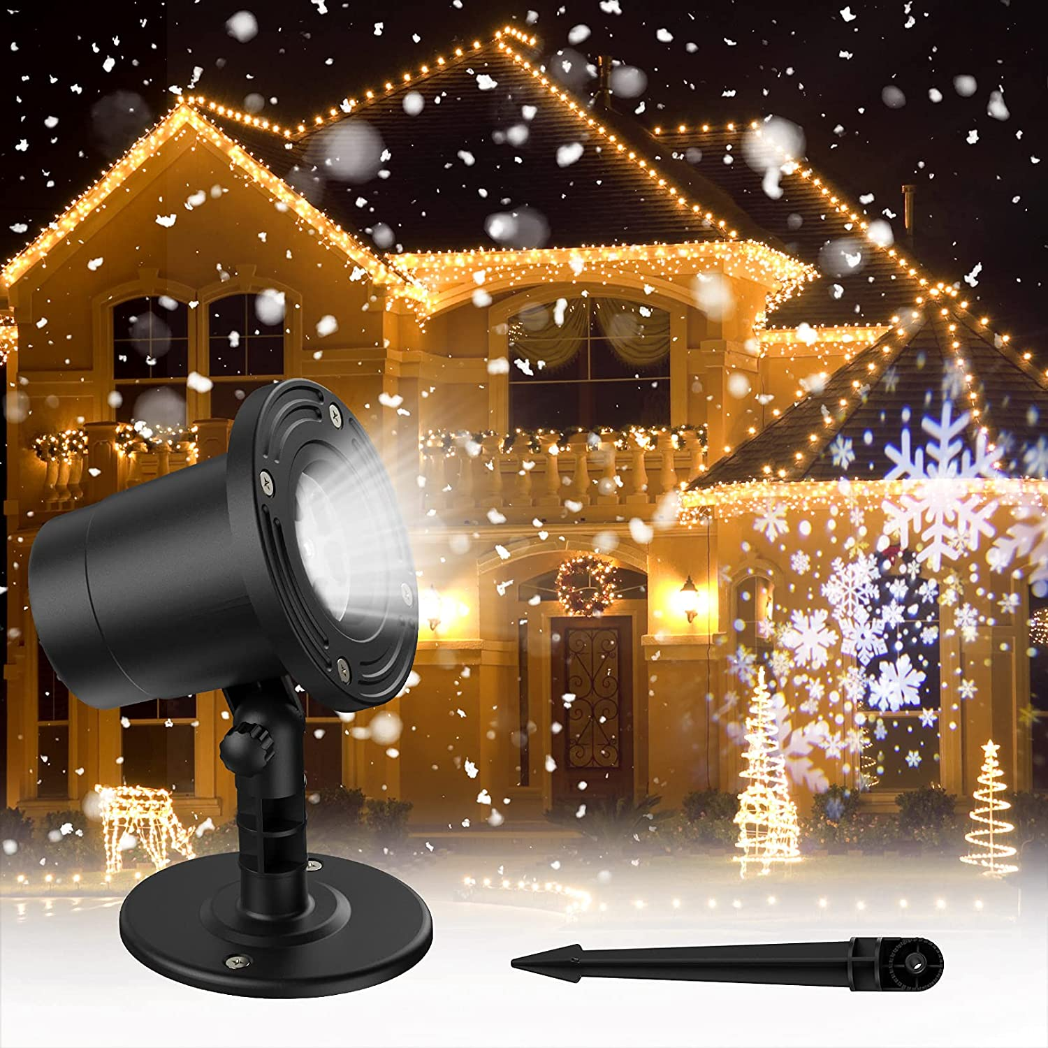 Gaiatop Christmas Snowflake Projector Lights, Highlight Version Led Snowfall Show Projector, Waterproof Landscape Christmas Decorations Lighting for Xmas Home Party Wedding Garden Patio