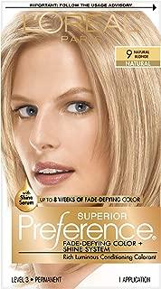 L'Oréal Paris Superior Preference Fade-Defying + Shine Permanent Hair Color, 9 Natural Blonde, 1 kit Hair Dye