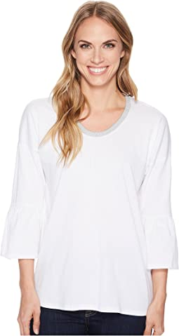 MICHAEL Michael Kors Lurex Trim Scoop Neck Top