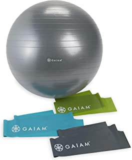 Gaiam Restore Core Strength Kit (65cm Balance Ball and Resistance Bands)