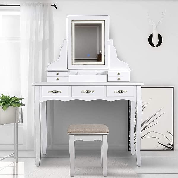 SCYL Color 你的生活梳妆台套装带灯 LED 镜子 7 个抽屉化妆梳妆台带软垫凳子易组装白色
