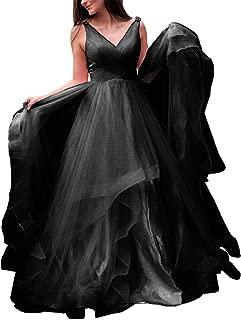 Jonlyc Sleeveless V-Neck Beaded Tulle Ball Gown Prom Dress with Open Back