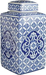 Festcool Classic Blue and White Porcelain Square Jar Vase, China Ming Style, Jingdezhen