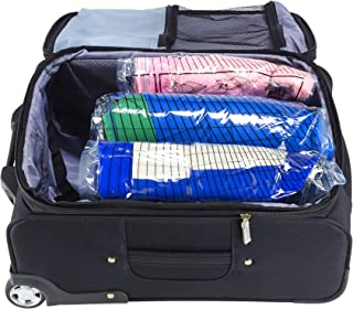 Lewis N. Clark Reusable Space Saver Compression Bags for Storage, Travel, Camping, Laundry, Pillows, Blankets + More, Clear