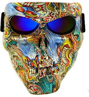 Vhccirt Spooky Skull Face Mask for Airsoft Paintball Motor Racing Polarized Lens
