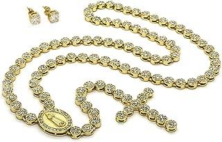 14k Gold Tone Guadalupe Cross w/ 36