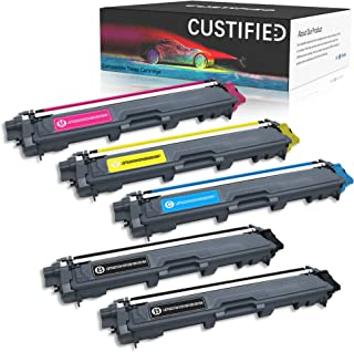 CUSTIFIED Compatible Toner Cartridge Replacement for Brother TN221BK TN225C/Y/M,5 Packs, Works with HL-3170CDW MFC-9130CW MFC-9330CDW HL-3140CW MFC-9340CDW HL-3180CDW Brother Laser Printer,Color Ink