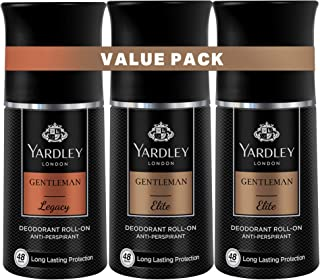 Yardley Gentleman Deodorant Roll On, Effective underarm protection, all day long perspiration regulator, Value pack,50ml x...