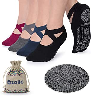 Non Slip Socks for Yoga Pilates Barre Fitness Hospital Socks for Women, 4 Pack