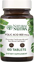 Natural Nutra Premium Folic Acid, Prenatal Vitamin for Heart Health and Red Blood Cell Formation, Vegetarian and Gluten Free Supplement, Recyclable Glass Bottles, 800 mcg, 100 Tablets