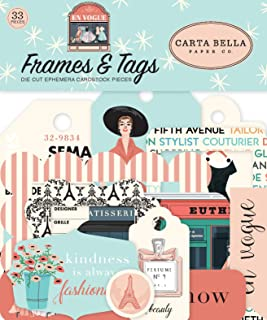 Carta Bella Paper Company CBEV103025 En Vogue 框架和标签 Ephemera,粉色,*,青色,黑色