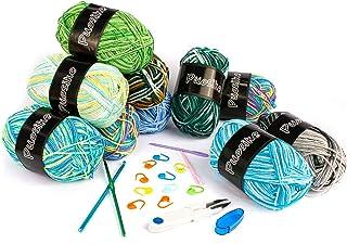 Lot de 10 pelotes de laine pour crochet (50 g) - Fil à tricoter à la main - Laine acrylique multicolore - Pour tricot doub...
