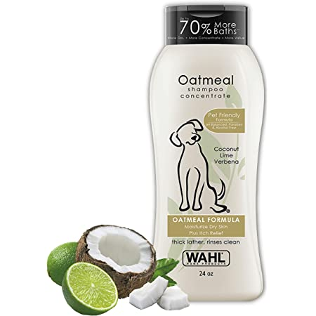 Wahl Dry Skin & Itch Relief Pet Shampoo for Dogs – Oatmeal Formula with Coconut Lime Verbena & 100% Natural Ingredients – 24 Oz - Model 820004A
