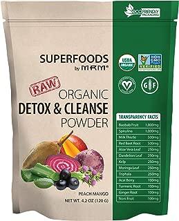 MRM - Organic Detox and Cleanse Powder, RAW Superfood, USDA Organic, Non-GMO, Gluten Free (Peach Mango, 120 G)