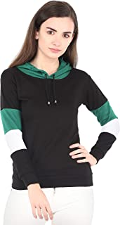 Shocknshop Black Colorblock Full Sleeve Hoodie Sweatshirt Jumper Top for Womens and Girls (WHOD04)