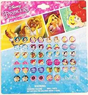 Disney Princess 24 Pairs sticker earrings with heart shaped and crown shaped design