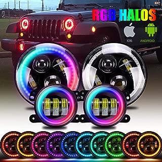 "DOT Approved 7 inch LED RGB Headlight,7"" Round DRL Headlamp Flashing RGB Angel Eye Halo Ring+ 4"