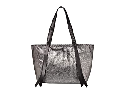 AllSaints Miki Leather Small East/West Tote (Gunsmoke Grey) Handbags