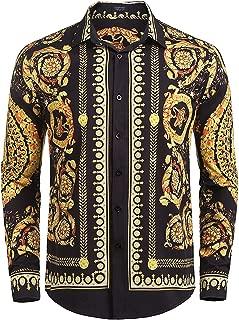 Men's Floral Dress Shirt Long Sleeve Slim Fit Casual Fashion Luxury Printed Button Down Shirt