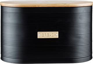 Typhoon Living Otto Bread Bin with Bamboo Lid, Matte Black/Gold