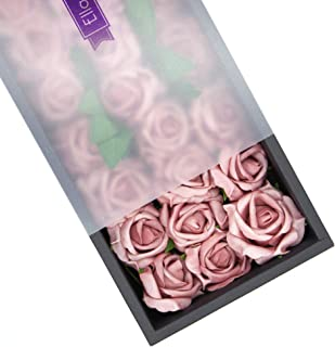 Ella Celebration 25 Real Touch Foam Roses Artificial Flowers with Stems, DIY Party Decoration Wedding Bridesmaid Bridal Bouquets Centerpieces, Home or Office Display Decor Dusty Pink (Dusty Rose)