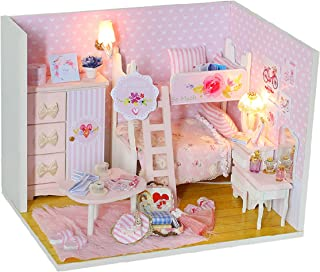 Cool Beans Boutique Miniature Dollhouse DIY Kit – Pink Bedroom with Kitty Table - with Dust Cover - Architecture Model kit (English Manual)