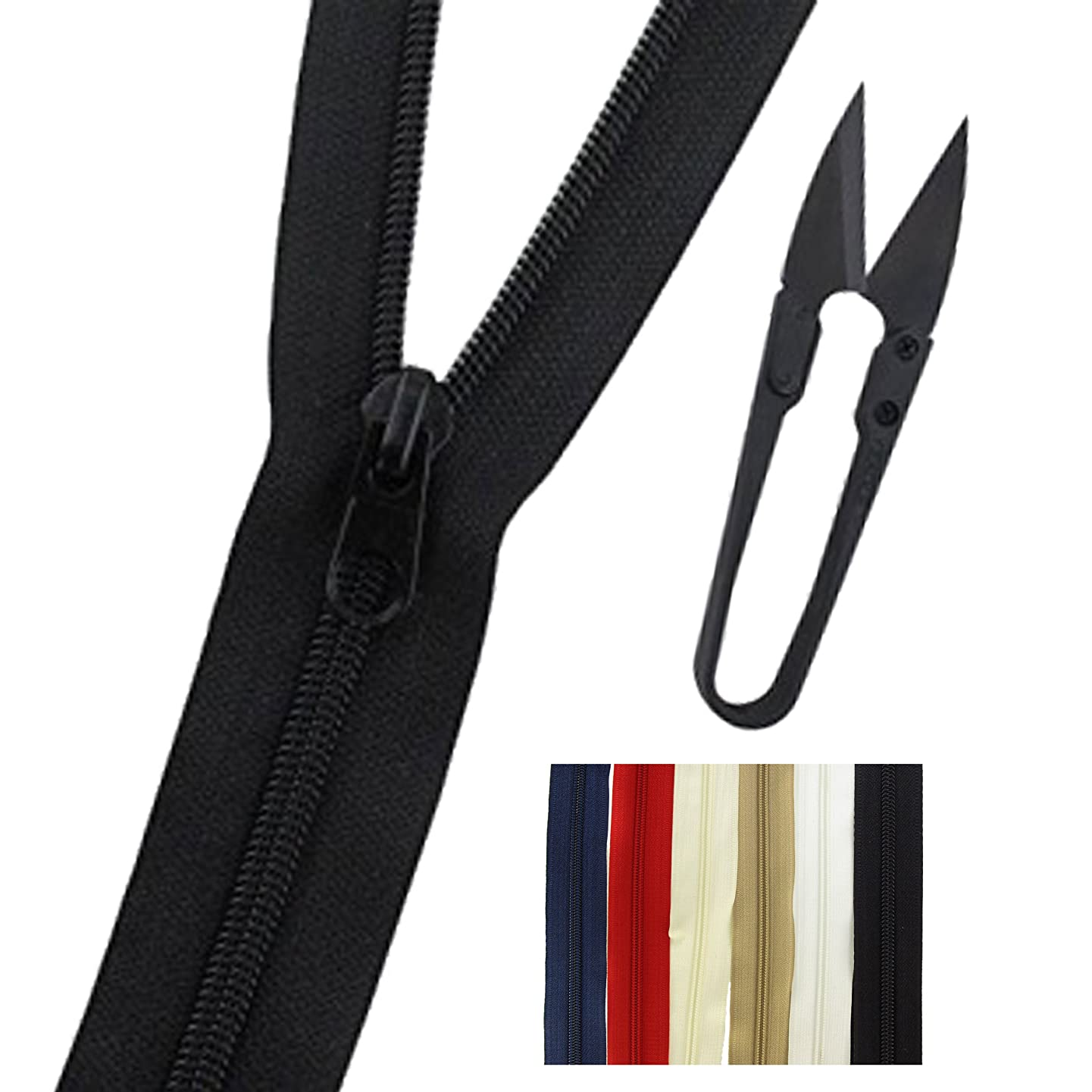 Bulk Zippers for Sewing, Arts and Crafts (Non-Separating) with 12 Metal Pulls + Free Snip - BambooMN - Black