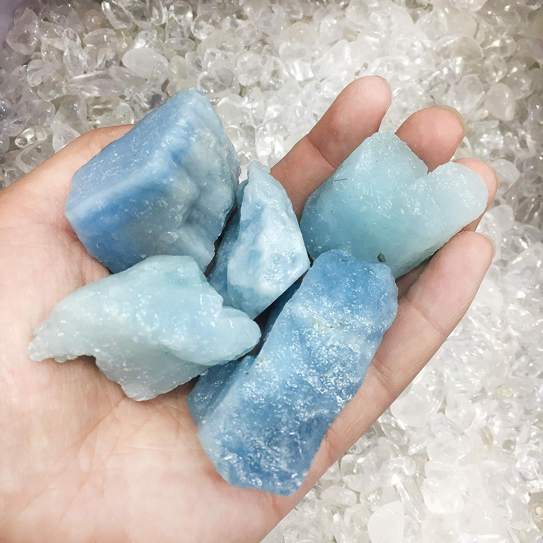 Natural blue Aquamarine gems Crystal pendant necklace healing-33
