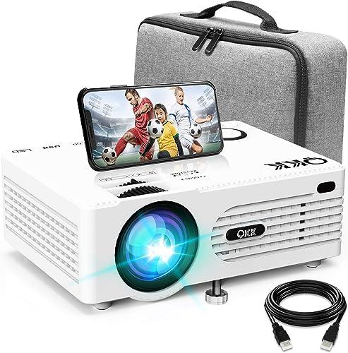 Projecteur AK-80 QKK Supporte 1080P Full HD, 6000 Lumens Mini Rétroprojecteur, HD Projecteur Vidéo Compatible TV Stic...