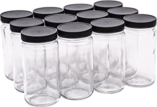 North Mountain Supply 12 Ounce Glass Tall Straight Sided Mason Canning Jars - with 63mm Black Plastic Lids - Case of 12