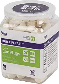 Flents Ear Plugs, 50 Pair, Ear Plugs for Sleeping, Snoring, Loud Noise, Traveling, Concerts, Construction, & Studying, NRR 29