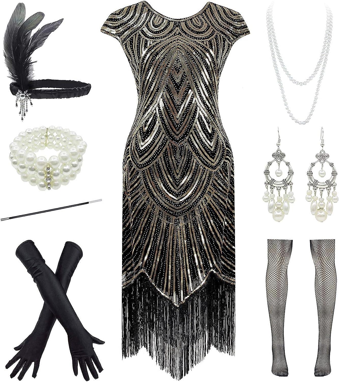1920s Flapper Gatsby Sequin 流行 Scalloped Cocktail Dress w 価格交渉OK送料無料 20s Acce