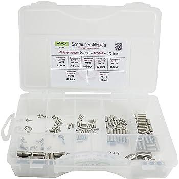 DIN 913 Madenschrauben Gewindeschrauben Maden-Schrauben ISO 4026 FASTON/® Gewindestifte mit Innensechskant und Kegelkuppe M2 X 3 aus Edelstahl A2 V2A 5 St/ück