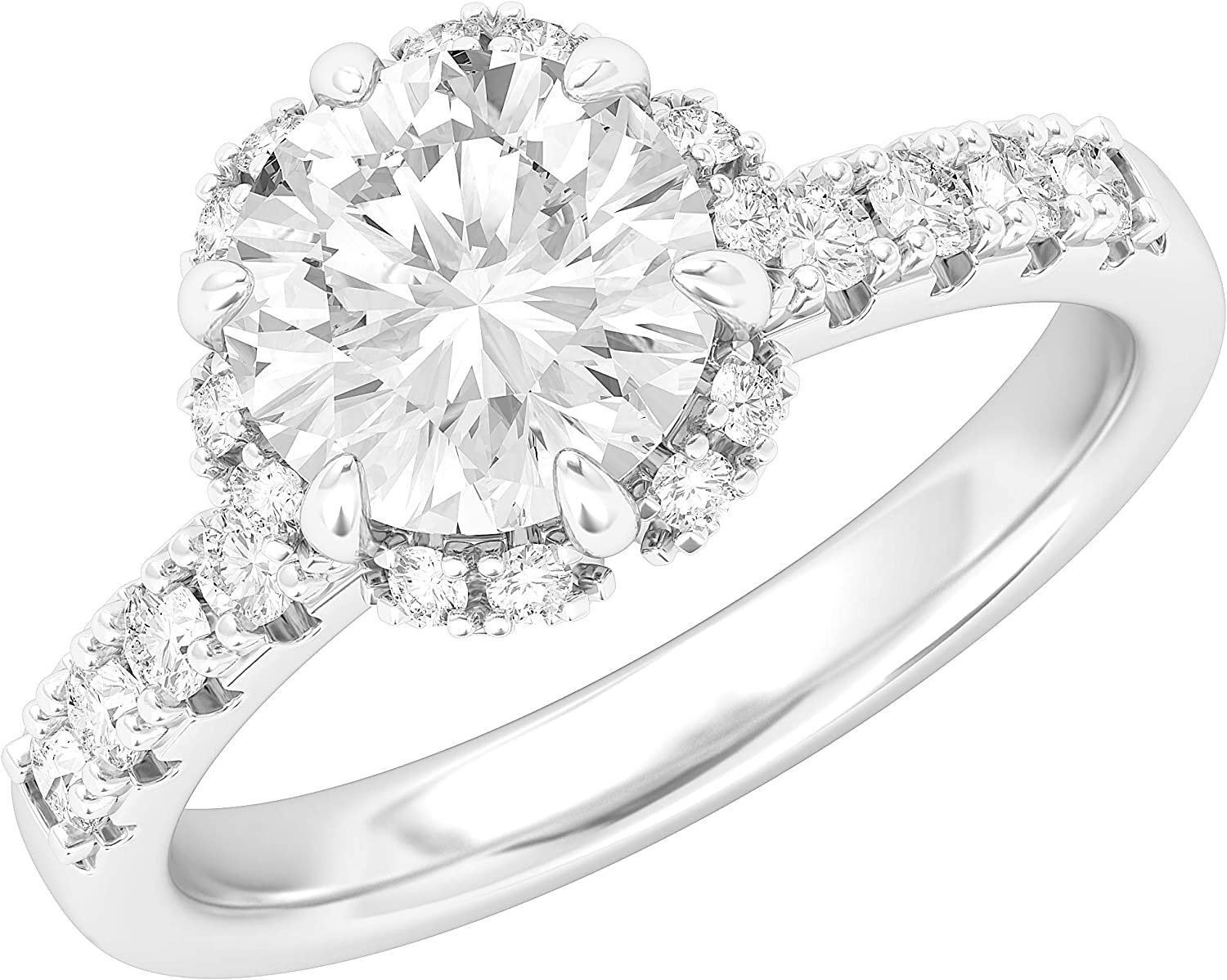 Sterling Silver Flower Style Halo Simulated 100% quality warranty! Diamond Engageme 2CT Popular products