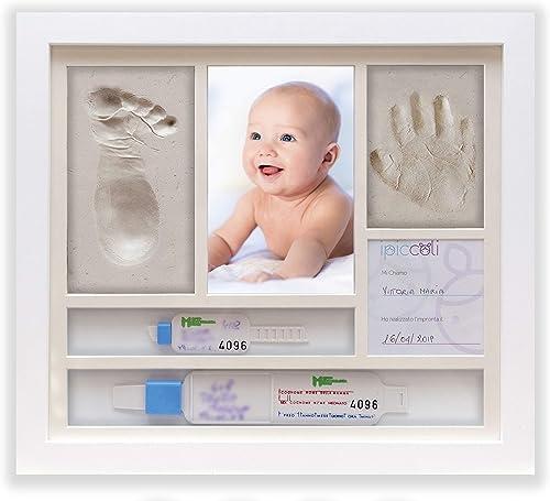 Cadre pour empreintes de bébé, cadeau baptême et naissance, kit complet avec argile, porte bracelets de naissance