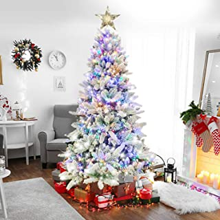 Auhavor 6.5ft Artificial Christmas Tree w/ 8 Modes 400 Multicolored LED Lights|Flocked Snowy Christmas Tree|Includes 1000 ...