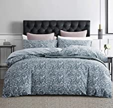 SLEEPBELLA Duvet Cover Queen, 600 Thread Count Cotton Blue & Green Paisley Floral Pattern Comforter Reversible Cover …