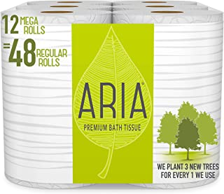 Aria Premium, Earth Friendly Toilet Paper, 12 Mega Rolls, 12 = 48 Regular Rolls, Eco Friendly Bath Tissue