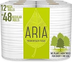 Aria Premium, Earth Friendly Toilet Paper, 12 Mega Rolls, 12 = 48 Regular Rolls, Eco Friendly Bath Tissue