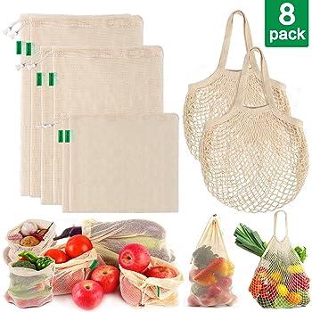 AivaToba Verduras Sacos Producir Bolsas Malla Algodón Reutilizable Lavable Red Muselina Bolsas ecológicas con cordón para Alimentos de Frutas,8 Paquetes: Amazon.es: Hogar
