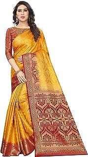 ملابس نسائية ذهبية عرقية Kanjivaram منسوجة من قطن جاكار الحرير (باي أفال)